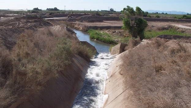Colorado River water flows through the West Side Main Dixie spill toward Imperial Valley famrs and the Salton Sea.
