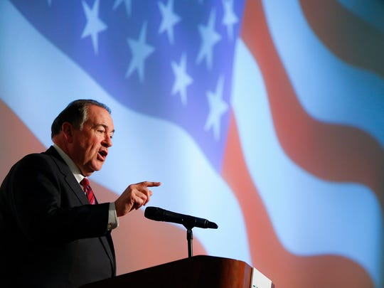 Republican presidential candidate Mike Huckabee speaks
