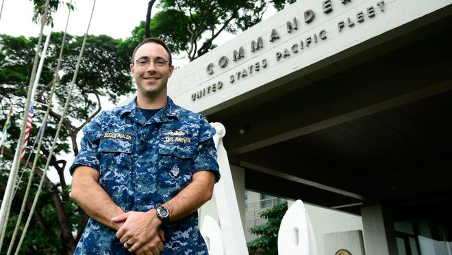 Commander Thomas Seigenthaler Jr., a Haddonfield HIgh School graduate, is working on littoral combat ship weaponry as a staff officer for the Pacific Fleet commander at Joint- Base Pearl Harbor-Hickam on the island of Oahu, Hawaii.