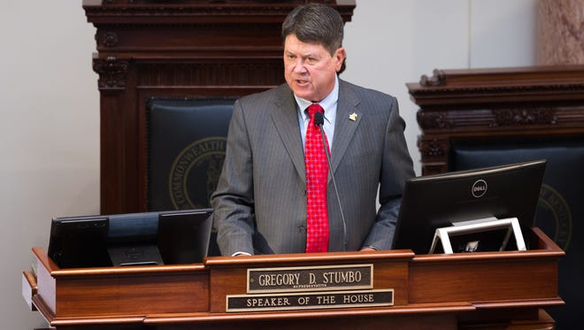 Speaker of the House Greg Stumbo speaks during the first day of the legislature at the Capitol Tuesday.