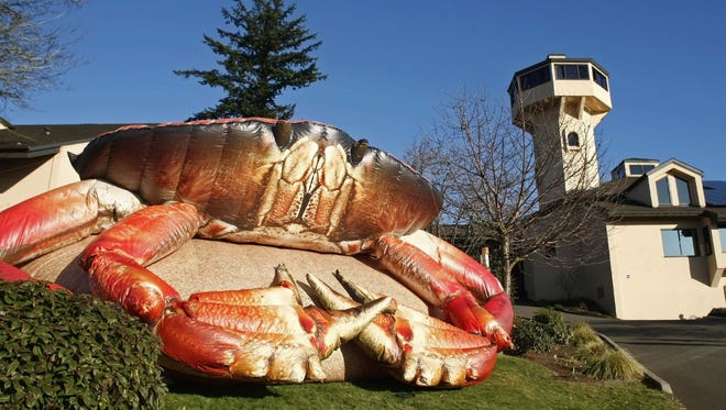 A giant, inflatable crab welcomes visitors to Mo's Crab and Chowder Festival at Willamette Valley Vineyards last year. This year's festival will be Jan. 29-31.