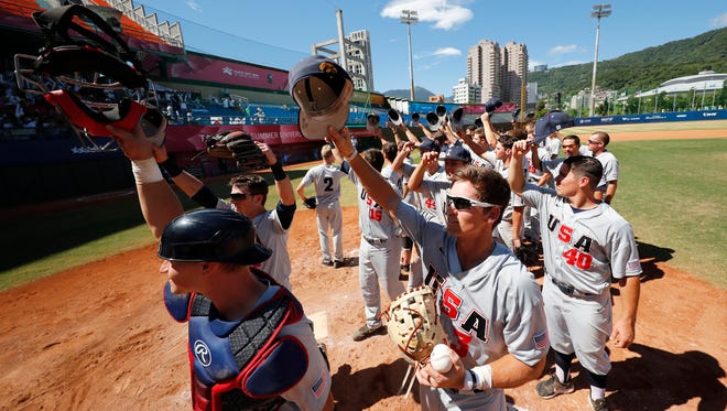 The Iowa Hawkeyes acknowledge the fans after defeating Korea 6-4 Saturday, August 26, 2017 in Taipei, Taiwan.