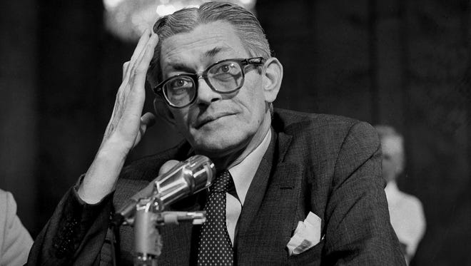 James Angleton, former chief of the CIA's counterintelligence division, being questioned in 1975.
