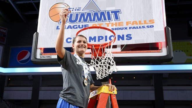 SIOUX FALLS, SD - MARCH 6:  MVP Macy Miller from South Dakota State University hoists a piece of the net following the Jackrabbits 65-50 win over the University of South Dakota at the 2018 Summit League Basketball tournament at the Denny Sanford Premier Center in Sioux Falls. (Photo by Dave Eggen/Inertia)
