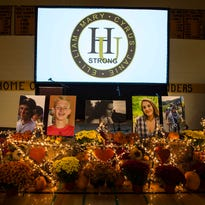 Anna Jarecki speaks about her friend Janie Chase Cozzi during a celebration of the lives of five teenagers who died in a head-on crash on I-89 at Harwood Union High School in Duxbury on Monday, October 24, 2016.