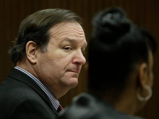 Bob Bashara, shown in Wayne County Circuit Court, is facing first-degree murder and other charges in connection with the death of his wife.