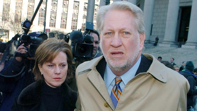 Former WorldCom CEO Bernard Ebbers exits Manhattan federal court in 2005 with wife Kristie, left, in New York. Ebbers was convicted on all counts in the trial in which he was accused of orchestrating an accounting scandal which bankrupted the once giant telecommunications company.
