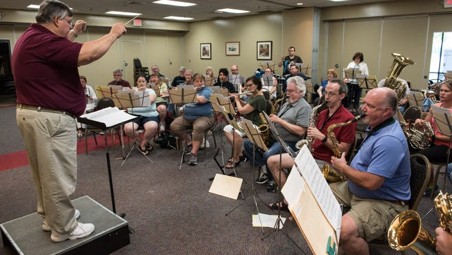 The Salisbury Community Band rehearses at the Wicomico Youth and Civic Center on Thursday, June 30, 2016.