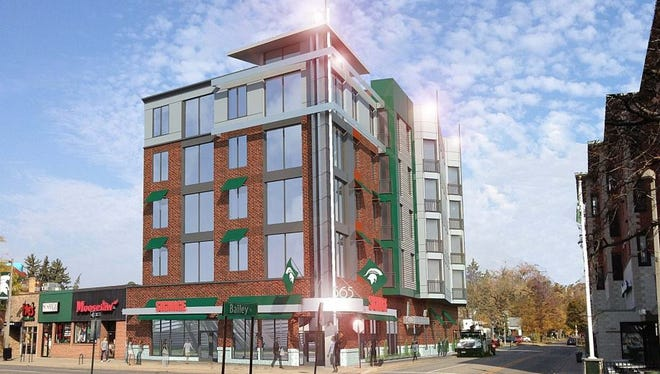 A rendering of Stonehouse Village VI apartments on Grand River Avenue and Bailey Street. The apartments will be completed in summer 2017.