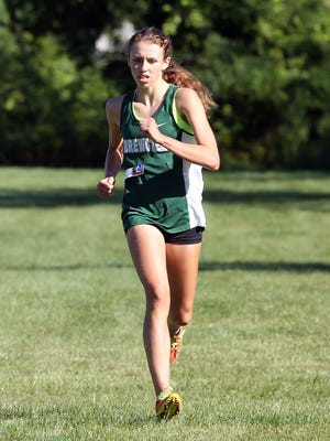 Brewster's Elsa Neubauer wins the girls Division 1 race at the Big Red Invitational at Somers High School Sept. 9,  2017.