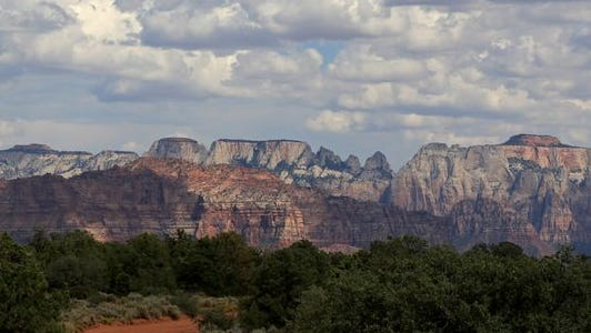 An image of Zion National Park as seen from Virgin, Utah.