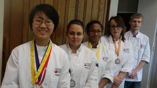 From left, are Feibi Wang,Beth Cadwallader, Kiana Schaeg,Tabbi Martin andCameron Argo.