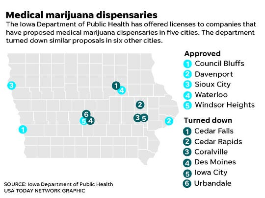 Cities where medical marijuana dispensaries have and have not been approved.
