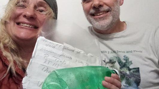 Michelle Armour and Paul Henderson, who live in Suffolk, England, found a message in a plastic bottle while on holiday in Wales from a New Hampshire sender from 1989.