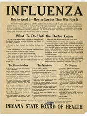 Spanish Influenza circular from the Indiana State Board of Health