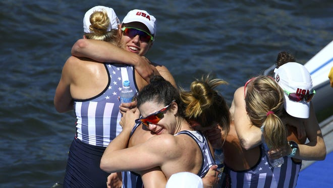 589077950.jpg RIO DE JANEIRO, BRAZIL - AUGUST 13: Team USA celebrate their gold medal finish in the Women's Eight Final A at Lagoa Stadium August 13, 2016 in Rio De Janeiro, Brazil. (Photo by Jeremy Lee-Pool/Getty Images)