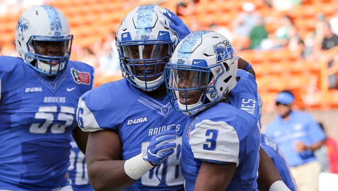 Wide receiver RIchie James played his hear out on Saturday, Dec. 24, 2016 in the Hawaii Bowl. The Blue Raiders fell 52-35.