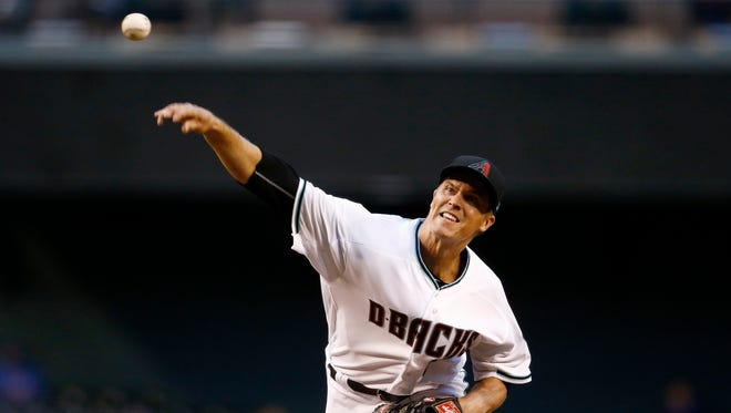 Arizona Diamondbacks' Zack Greinke throws a pitch against the New York Mets during the first inning of a baseball game, Tuesday, May 16, 2017, in Phoenix.