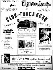 Newspaper clipping announcing the opening of Club Trocadero.