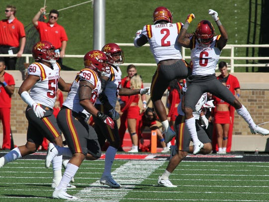 Iowa State Cyclones linebacker Willie Harvey (2) and