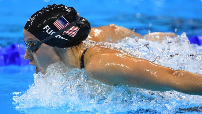 Hali Flickinger competes during the women's 200-meter butterfly final Wednesday in the Rio 2016 Summer Olympic Games at Olympic Aquatics Stadium.