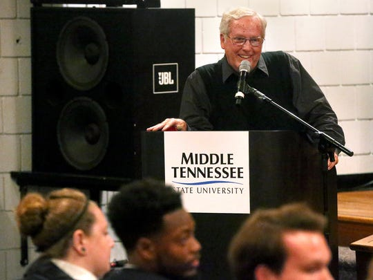Rutherford County historian Greg Tucker answers questions from the task force during a public meeting about changing the name of Forrest Hall on Thursday.