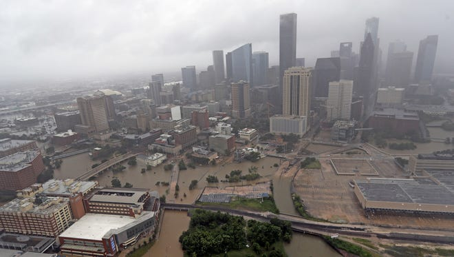 Highways around downtown Houston are empty as floodwaters from Tropical Storm Harvey overflow from the bayous around the city on Aug. 29, 2017.