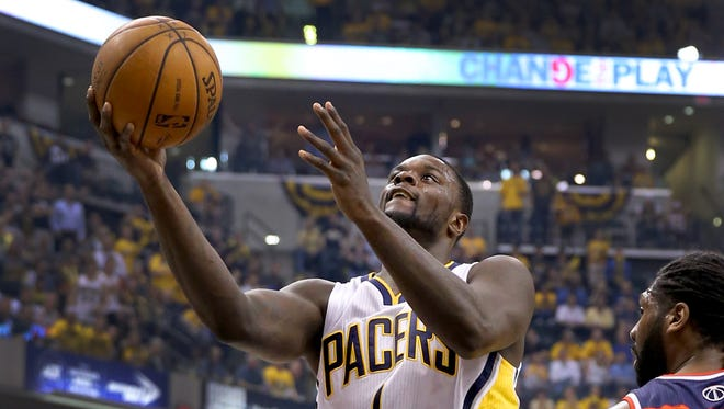 Pacers guard Lance Stephenson takes the ball in for a layup during the first half of action, May 13, 2014, evening at Bankers Life Fieldhouse.