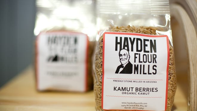 Bags of Hayden Flour Mills products are displayed at Pane Bianco in Phoenix.