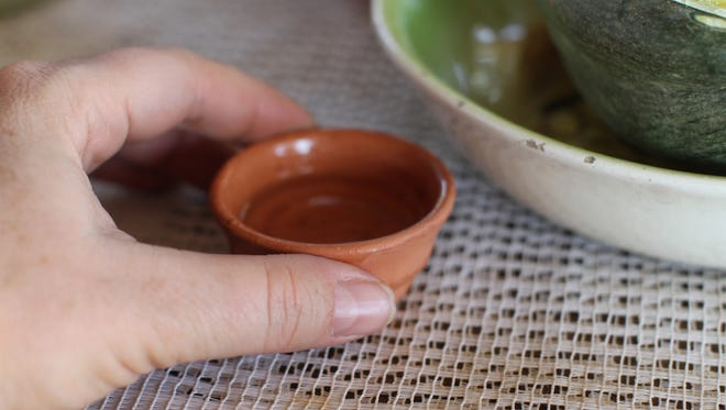 It's traditional to drink mezcal out of a clay copita.