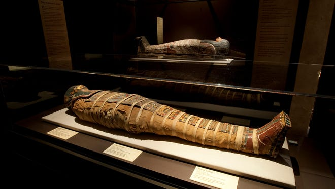 A human mummy at the 'Lost Egypt: Ancient Secrets, Modern Science' at the Arizona Science Center.