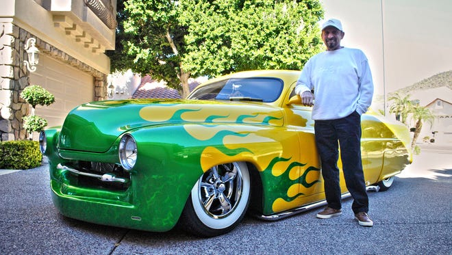 Pat Neve, of Glendale, and his yellow 1951 Mercury Coupe.
