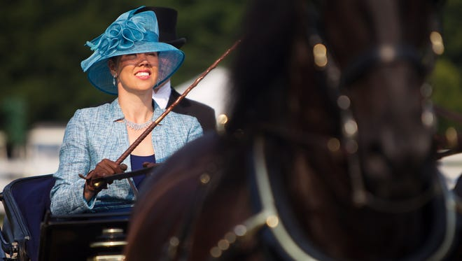 Nanda Steenbeek competes in the Walnut Hill Carriage Driving Competition in Pittsford on Friday, August 8, 2014.