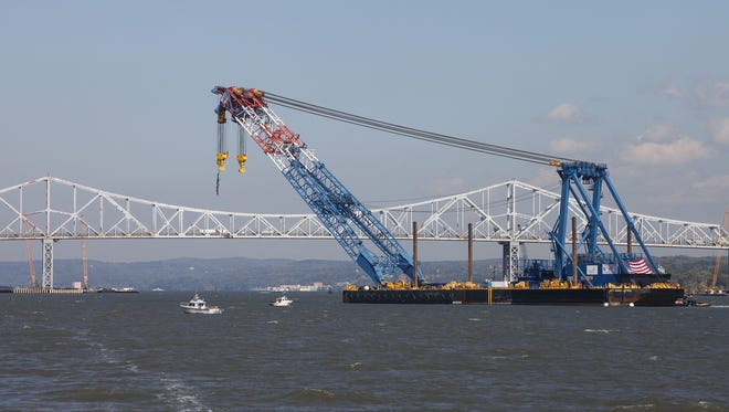 "The ""I Lift NY"" super crane arrives near the Tappan Zee Bridge on Monday, Oct. 6, 2014.  It is going to help in the construction of the New New York Bridge. The bridge, formally known as the Left Coast Lifter, worked on the construction of the new San Francisco-Oakland Bay Bridge."