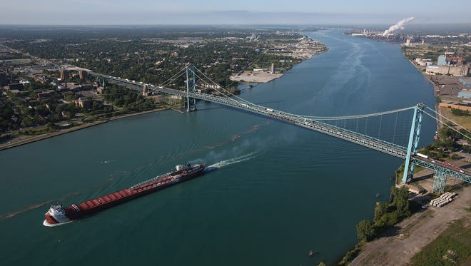 Aerial view of the Ambassador Bridge. The Detroit Three automakers and top labor leaders are asking President Barack Obama to help secure federal funding for a U.S. Customs inspection plaza on the Detroit side of a new government-owned international bridge between Detroit and Canada.