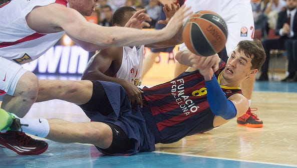 in action during the 2014-2015 Turkish Airlines Euroleague Basketball Play Off Game 2 between FC Barcelona v Olympiacos Piraeus at Palau Blaugrana on April 17, 2015 in Barcelona, Spain.