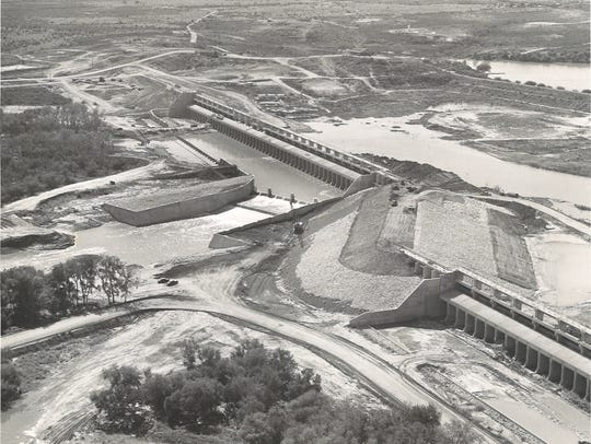 Wesley Seale Dam on Lake Corpus Christi was under construction