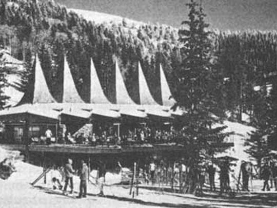The lodge, also designed by Victor Lundy, with its signature spires intended to replicate the surrounding tall trees, was completed.