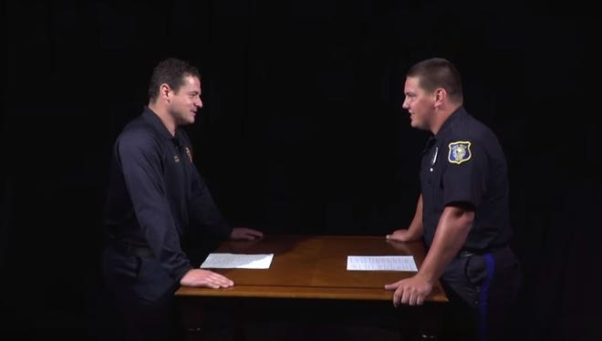 Sioux Falls Fire Rescue Captain Nick Luther and Sioux Falls Police Department Officer John Estep tell their best dad jokes in an attempt to make the other laugh.