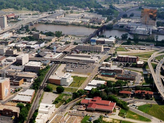 A overhead look at downtown Shreveport and parts of Bossier City in 2015.