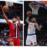 Washington's Jared Dudley (left) and New York's Derrick Williams in the 2015-16 season.