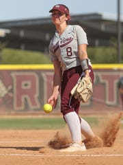 Liz Rosin pitches for Rancho Mirage in their game against