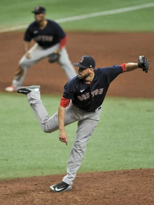 Red Sox reliever Matt Barnes closed out the Tampa Bay Rays on Sunday.