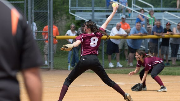 Albertus Magnus pitcher Kelly O'Brien works during Saturday's Section 1 Class B  final against Pawling at North Rockland High School.