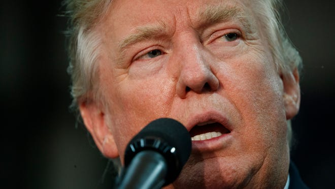 Republican presidential candidate Donald Trump speaks during a campaign rally Thursday in Springfield, Ohio.