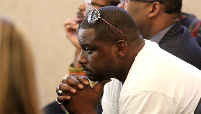 Aubrey DuBose, brother of Sam DuBose, listens to testimony Monday in the trial of former police officer Ray Tensing.