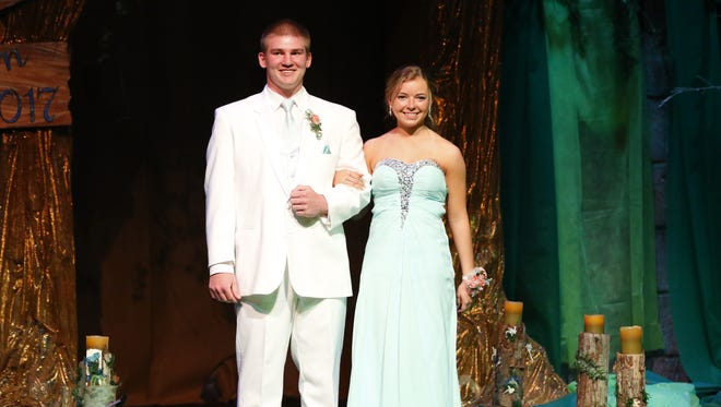 Wausau West High School kicks off its 2017 prom with a grand march on Saturday, April 29, 2017, in the high school auditorium.