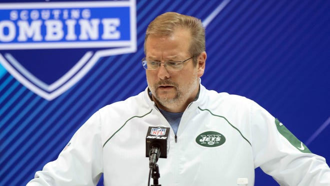 New York Jets general manager Mike Maccagnan speaks to the media during the 2018 NFL Combine at the Indianapolis Convention Center.