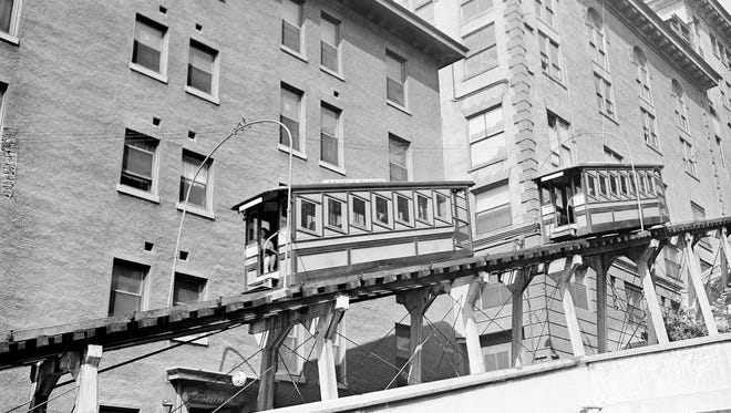 This Aug. 14, 1945 file photo shows the Angels Flight funicular seen in its original location in downtown Los Angeles.