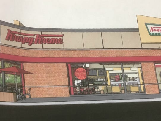 This rendering shows the exterior of the Krispy Kreme